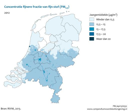 fijnstof kaart nederland 2020 Concentraties van de fijnere fractie van fijn stof (PM2,5), 2009