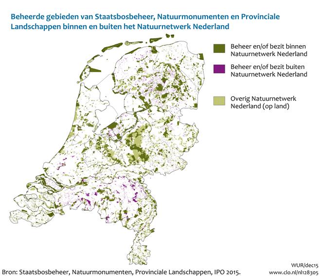 natuurnetwerk nederland kaart Gebieden terreinbeherende organisaties, 2015 | Compendium voor de