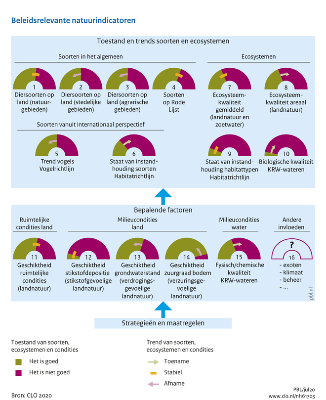 Een dashboard soorten en ecosystemen toestanden en trends. Onder de figuur zijn de gegevens in de vorm van een tabel opgenomen.